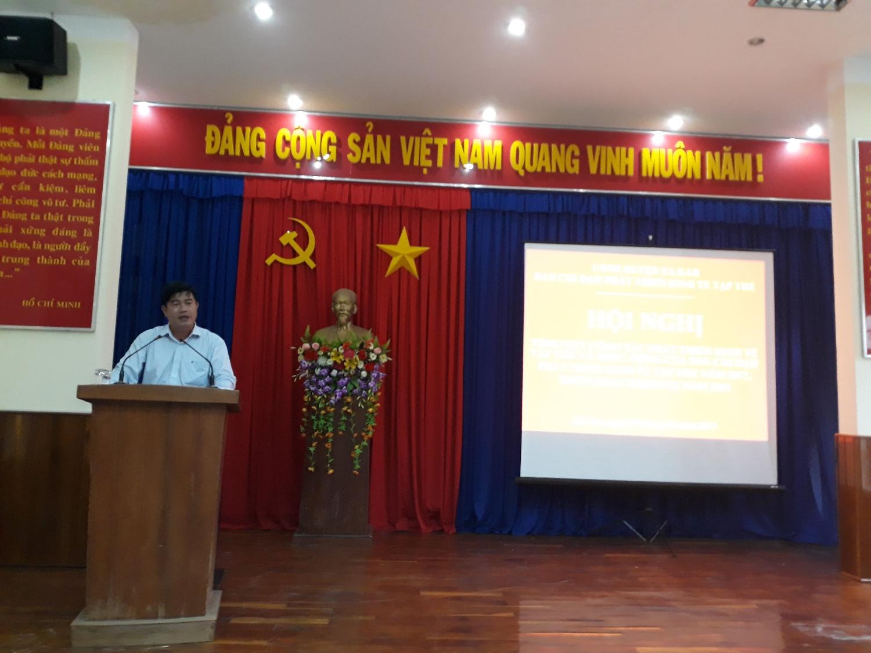 Đ/c Nguyễn Thiên Văn, Chủ tịch Liên minh HTX tỉnh, Phó trưởng Ban Chỉ đạo Phát triển kinh tế Hợp tác xã của tỉnh phát biểu tại Hội nghị